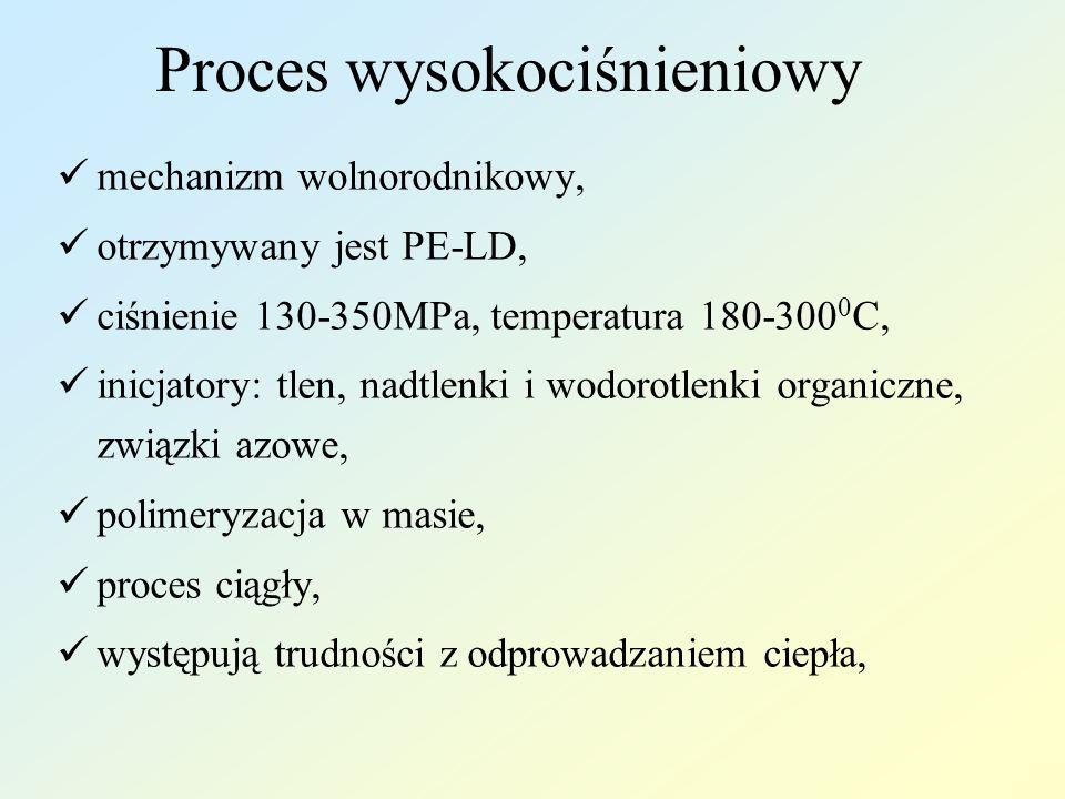 Proces wysokociśnieniowy mechanizm wolnorodnikowy, otrzymywany jest PE-LD, ciśnienie 130-350MPa, temperatura 180-300 0 C, inicjatory: tlen, nadtlenki