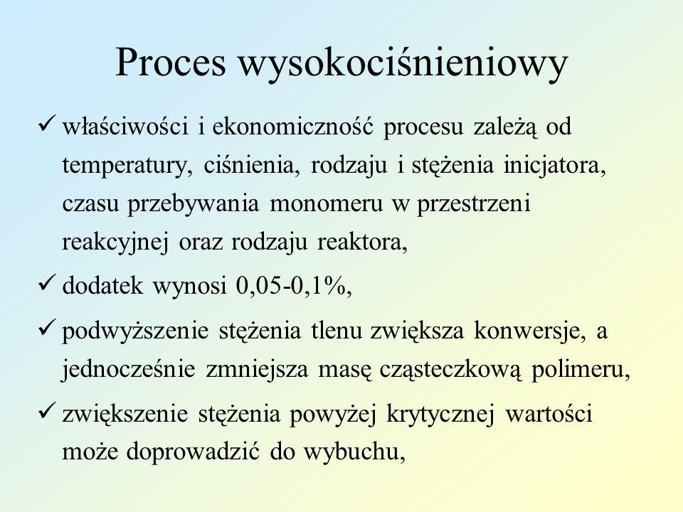 Proces wysokociśnieniowy właściwości i ekonomiczność procesu zależą od temperatury, ciśnienia, rodzaju i stężenia inicjatora, czasu przebywania monome