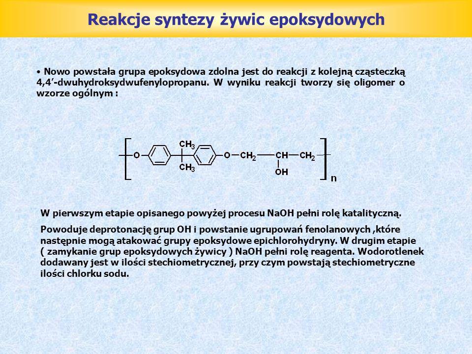 Reakcje syntezy żywic epoksydowych Nowo powstała grupa epoksydowa zdolna jest do reakcji z kolejną cząsteczką 4,4-dwuhydroksydwufenylopropanu. W wynik