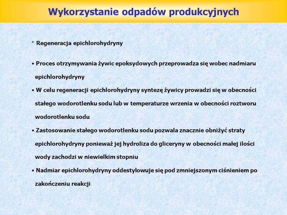 Wykorzystanie odpadów produkcyjnych ٭ Regeneracja epichlorohydryny Proces otrzymywania żywic epoksydowych przeprowadza się wobec nadmiaru epichlorohyd