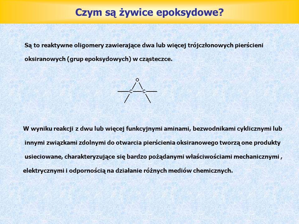 Czym są żywice epoksydowe? Są to reaktywne oligomery zawierające dwa lub więcej trójczłonowych pierścieni oksiranowych (grup epoksydowych) w cząsteczc