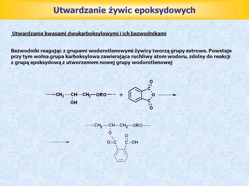 Utwardzanie żywic epoksydowych Utwardzanie kwasami dwukarboksylowymi i ich bezwodnikami Bezwodniki reagując z grupami wodorotlenowymi żywicy tworzą gr