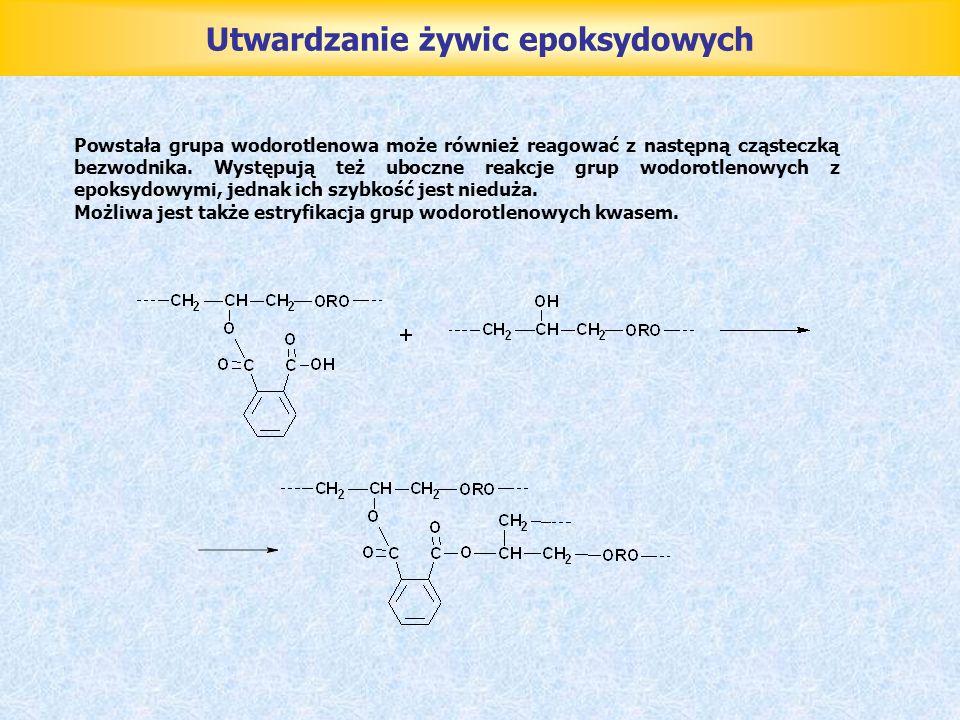 Powstała grupa wodorotlenowa może również reagować z następną cząsteczką bezwodnika. Występują też uboczne reakcje grup wodorotlenowych z epoksydowymi