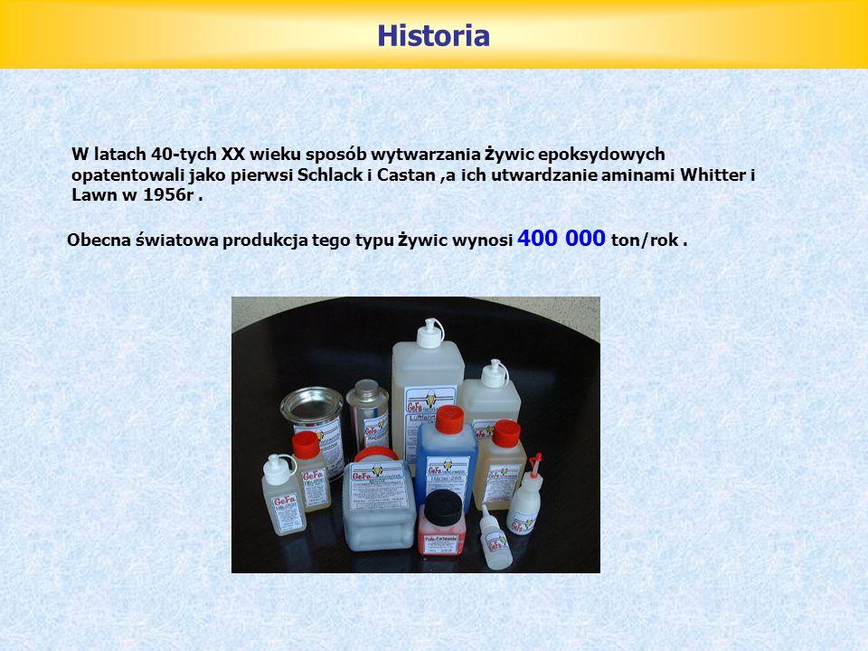 Przegląd żywic Epoksydowych W zależności od masy cząsteczkowej maja różną postać : od lepkich cieczy (LE = 0,5) do szklistych mas stałych (LE = 0,03) LE (liczba epoksydowa) - liczba gramorównoważników epoksydowych w 100 g żywicy Epidian 1 - półprodukt do produkcji lakierów chemoodpornych, Epidian 2 i 3 - spoiwo do produkcji kompozycji utwardzanych na gorąco, Epidian 4 - do produkcji kitów i spoiw oraz kompozycji chemoodpornych, Epidian 5 i 6 - do produkcji farb i lakierów chemoodpornych, spoiw, syciw, zalew, klejów utwardzanych na zimno do metali, szkła, ceramiki i większości tworzyw.