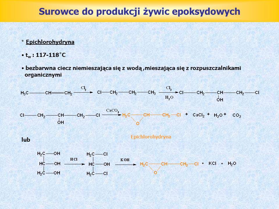 Surowce do produkcji żywic epoksydowych ٭ Epichlorohydryna t w : 117-118˚C bezbarwna ciecz niemieszająca się z wodą,mieszająca się z rozpuszczalnikami