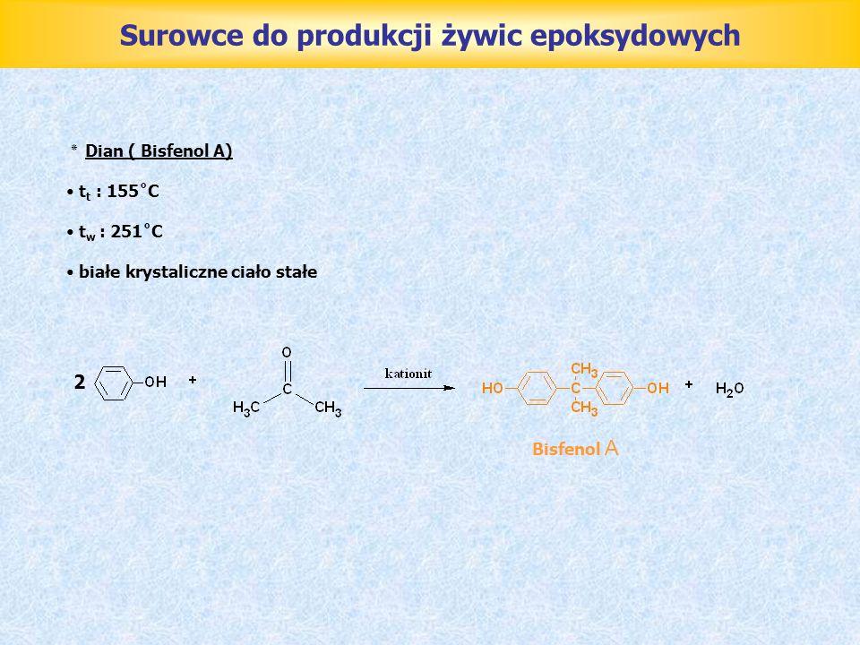 Wykorzystanie odpadów produkcyjnych ٭ Wody ściekowe w produkcji żywic epoksydowych zawierają : ponad 47,5 g/l gliceryny 85,5 g/l chlorku sodu 0,1 g/l 4,4-dwuhydroksydwufenylopropanu oraz niewielkie ilości toluenu, żywicy, wodorotlenku sodu, sody i zanieczyszczeń mechanicznych Oczyszczanie wód ściekowych jest podyktowane warunkami BHP i ochrony środowiska a także względami ekonomicznymi ( w czasie oczyszczania wód ściekowych przeprowadza się utylizację gliceryny ) Regenerację gliceryny z wód ściekowych można przeprowadzić metodą zatężania wodno-glicerynowego roztworu soli i oddestylowania gliceryny pod zmniejszonym ciśnieniem