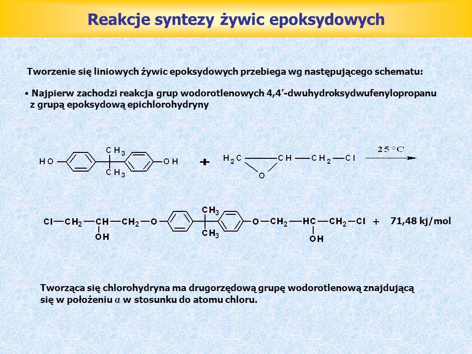 Reakcje syntezy żywic epoksydowych Przy takim położeniu grup funkcyjnych łatwo odszczepia się chlorowodór i tworzy się nowa grupa epoksydowa: Proces powstawania nowej grupy epoksydowej przez odszczepienie chlorowodoru zachodzi z pochłonięciem 117,46 kJ ciepła.