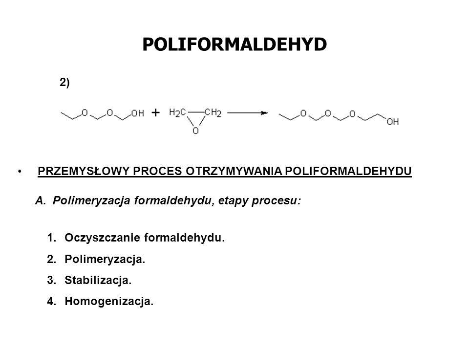 POLIFORMALDEHYD Ad.1 Oczyszczanie formaldehydu z kwasu mrówkowego i wody przeprowadza się przez wymrażanie oraz przez adsorpcję na sitach molekularnych.