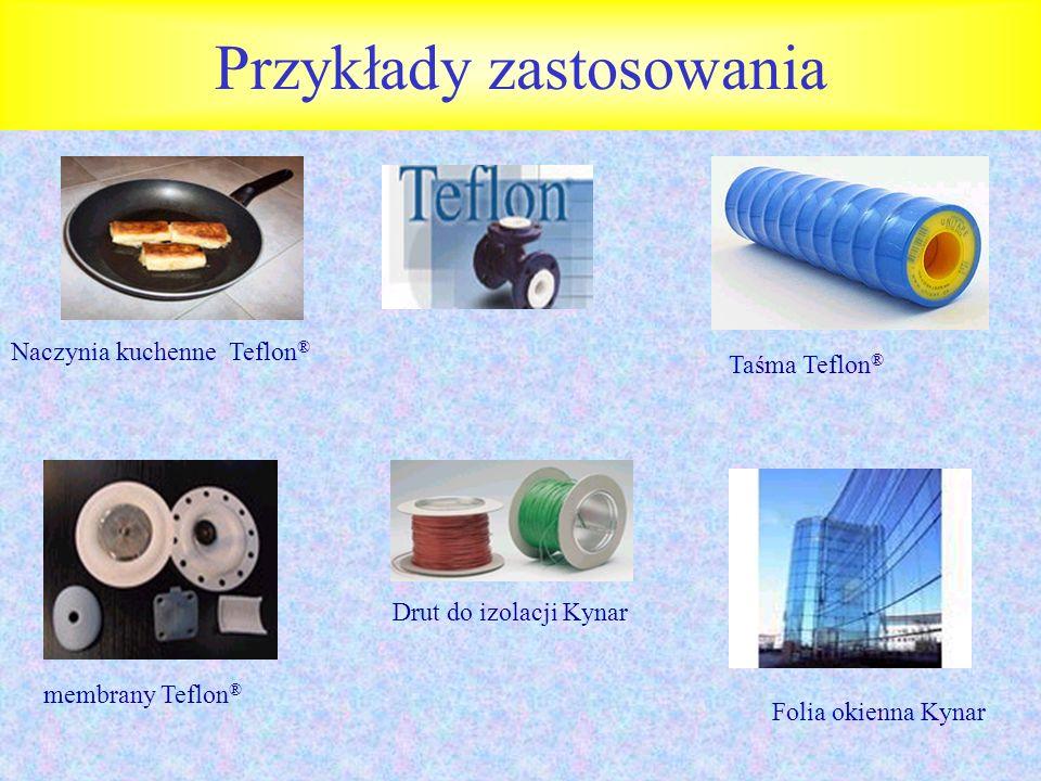 Przykłady zastosowania Naczynia kuchenne Teflon ® Drut do izolacji Kynar membrany Teflon ® Folia okienna Kynar Taśma Teflon ®