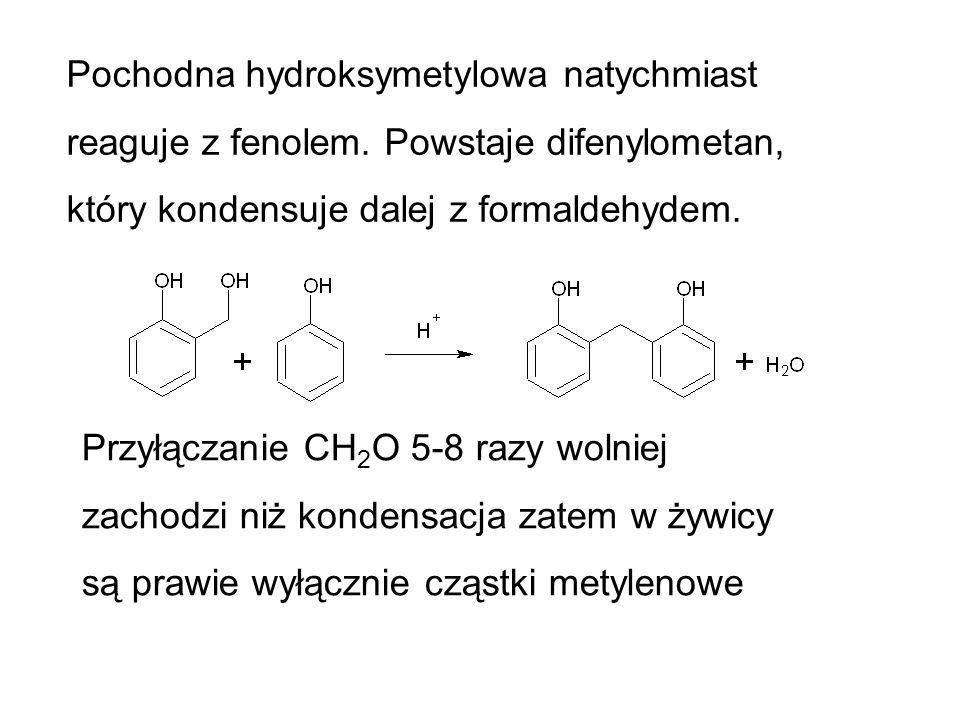 Pochodna hydroksymetylowa natychmiast reaguje z fenolem. Powstaje difenylometan, który kondensuje dalej z formaldehydem. Przyłączanie CH 2 O 5-8 razy