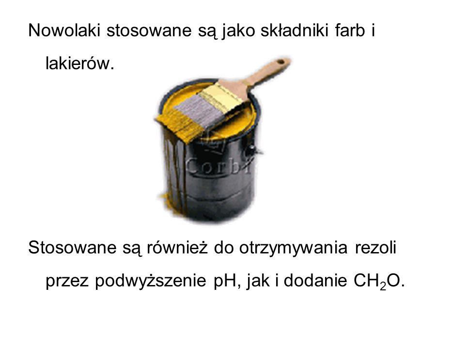 Nowolaki stosowane są jako składniki farb i lakierów. Stosowane są również do otrzymywania rezoli przez podwyższenie pH, jak i dodanie CH 2 O.