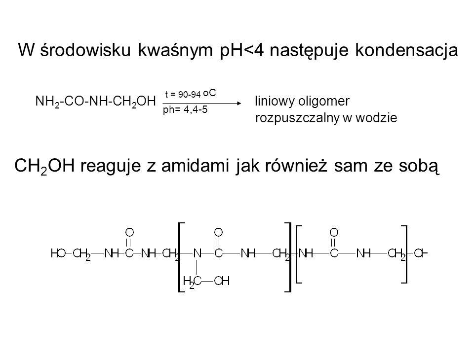W środowisku kwaśnym pH<4 następuje kondensacja NH 2 -CO-NH-CH 2 OH t = 90-94 oC liniowy oligomer ph= 4,4-5 rozpuszczalny w wodzie CH 2 OH reaguje z a