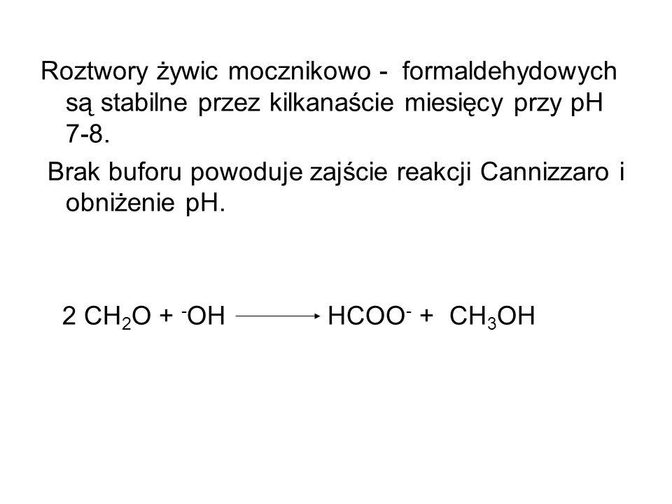 Roztwory żywic mocznikowo - formaldehydowych są stabilne przez kilkanaście miesięcy przy pH 7-8. Brak buforu powoduje zajście reakcji Cannizzaro i obn