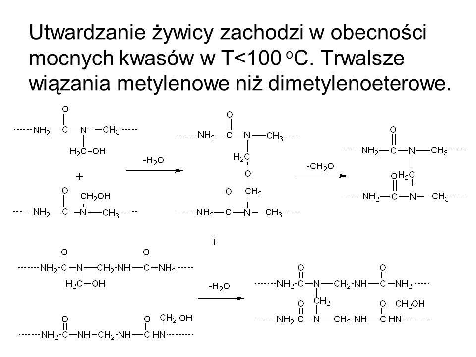 Utwardzanie żywicy zachodzi w obecności mocnych kwasów w T<100 o C. Trwalsze wiązania metylenowe niż dimetylenoeterowe.