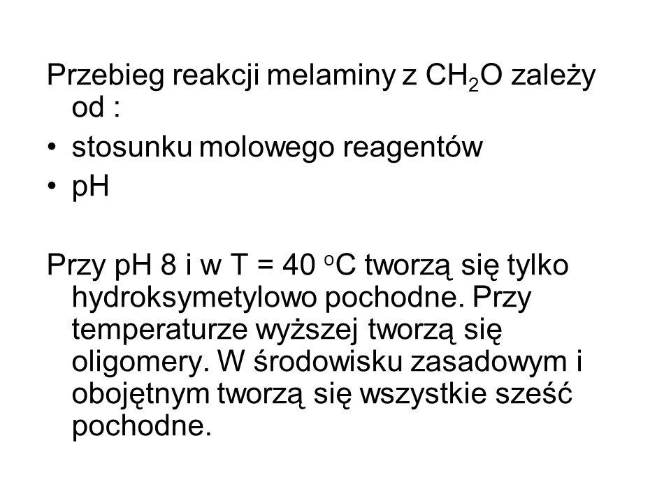 Przebieg reakcji melaminy z CH 2 O zależy od : stosunku molowego reagentów pH Przy pH 8 i w T = 40 o C tworzą się tylko hydroksymetylowo pochodne. Prz