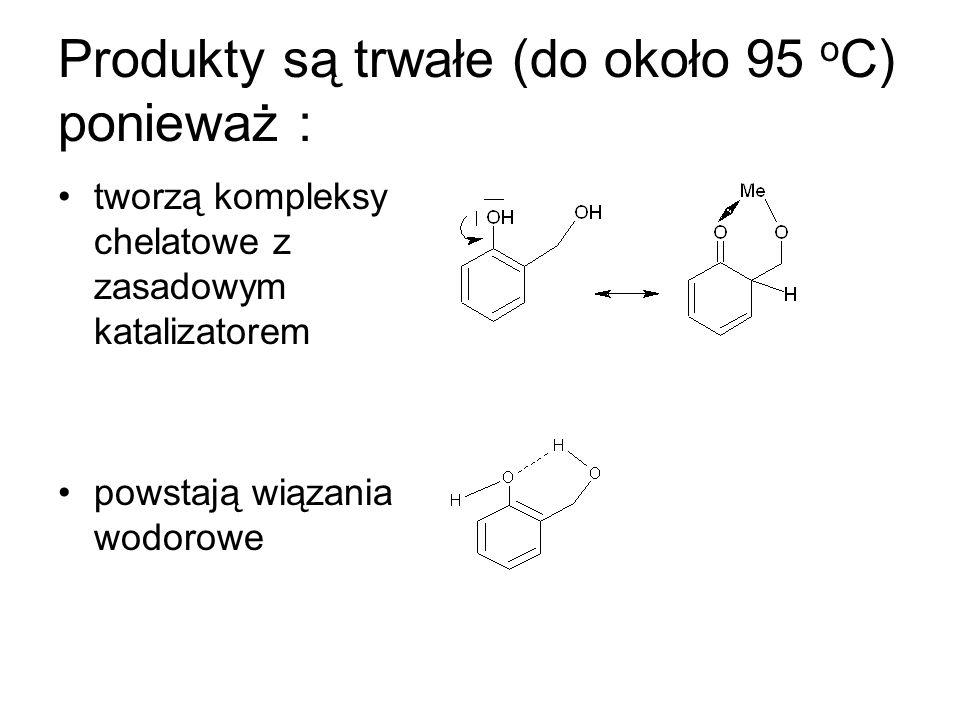 Produkty są trwałe (do około 95 o C) ponieważ : tworzą kompleksy chelatowe z zasadowym katalizatorem powstają wiązania wodorowe