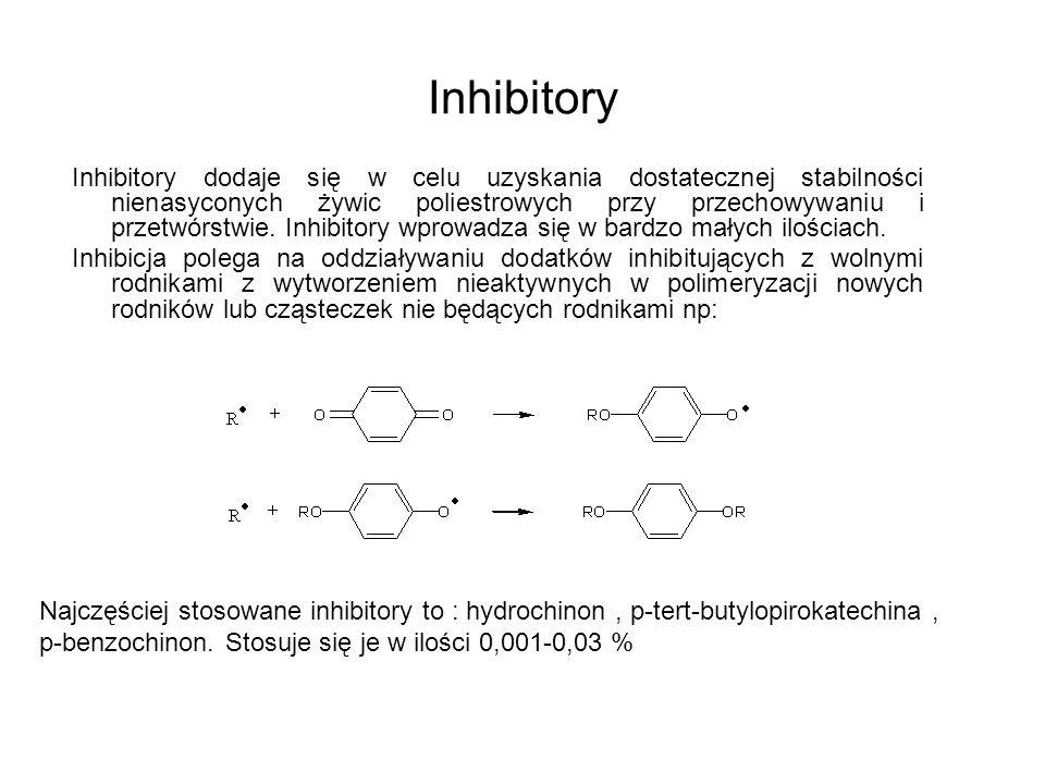 Inhibitory Inhibitory dodaje się w celu uzyskania dostatecznej stabilności nienasyconych żywic poliestrowych przy przechowywaniu i przetwórstwie. Inhi
