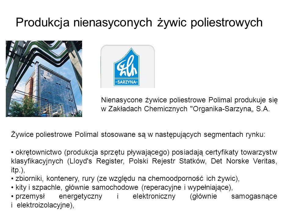 Produkcja nienasyconych żywic poliestrowych Nienasycone żywice poliestrowe Polimal produkuje się w Zakładach Chemicznych