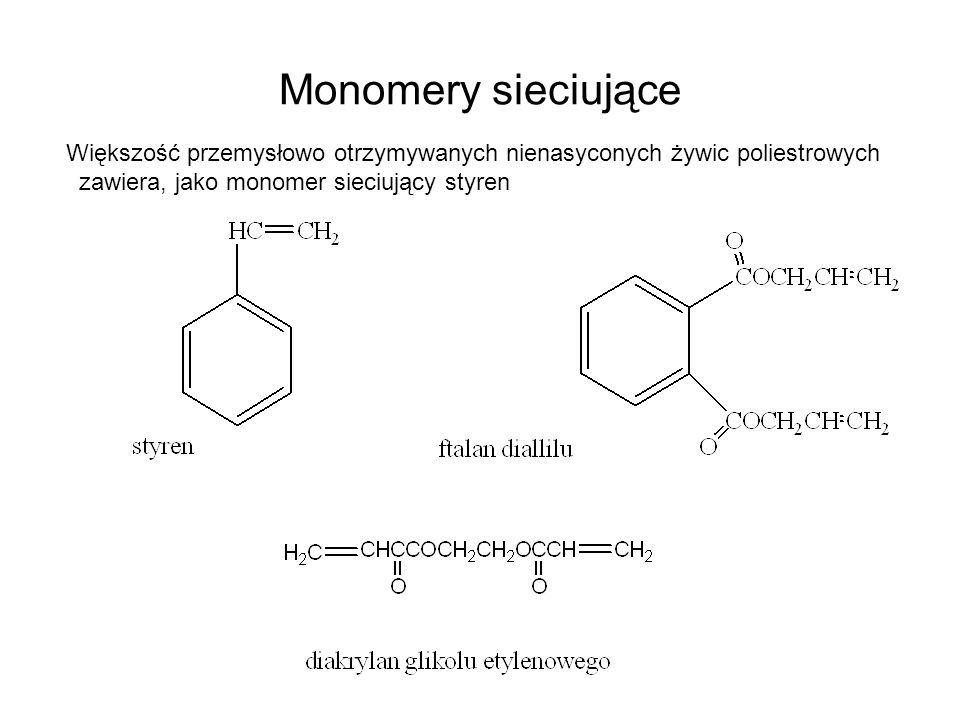 Dodatek małocząsteczkowego monomeru sieciującego pozwala na: Pełniejsze usieciowanie żywicy (utwardzenie) Zastosowanie żywicy jako spoiw do materiałów wzmocnionych włóknem szklanym (mniejsza lepkość kompozycji niż wyjściowego poliestru) Utwardzaniu nienasyconych żywic poliestrowych nie towarzyszy wydzielenie produktów ubocznych, utwardzanie można przeprowadzać w temperaturze pokojowej.