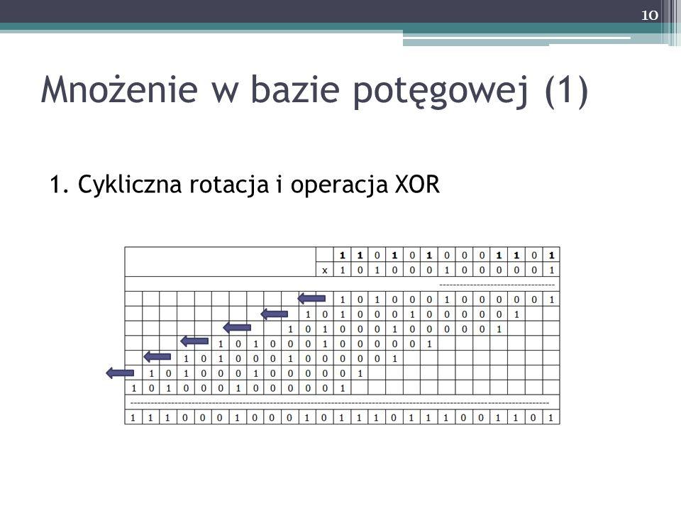 1. Cykliczna rotacja i operacja XOR Mnożenie w bazie potęgowej (1) 10