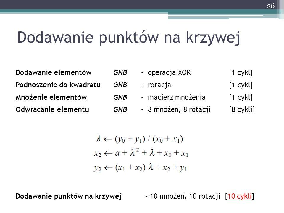 26 Dodawanie punktów na krzywej Dodawanie elementów GNB – operacja XOR [1 cykl] Podnoszenie do kwadratuGNB- rotacja [1 cykl] Mnożenie elementów GNB –