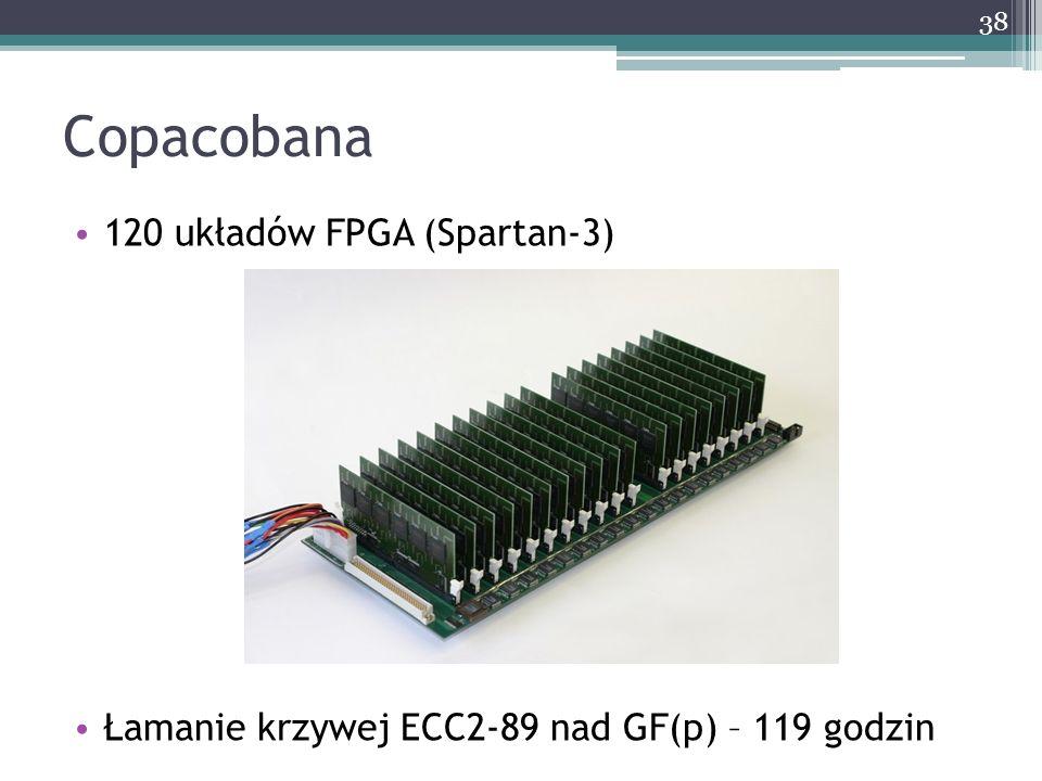 Copacobana 120 układów FPGA (Spartan-3) Łamanie krzywej ECC2-89 nad GF(p) – 119 godzin 38