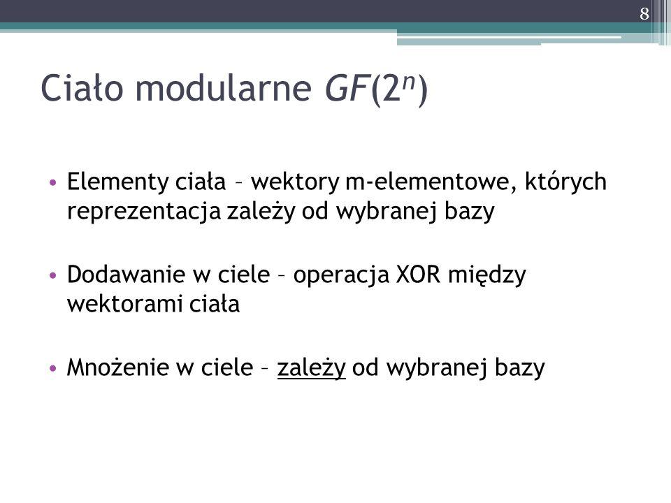 Ciało modularne GF(2 n ) Elementy ciała – wektory m-elementowe, których reprezentacja zależy od wybranej bazy Dodawanie w ciele – operacja XOR między
