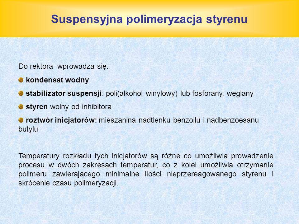 Suspensyjna polimeryzacja styrenu Do rektora wprowadza się: kondensat wodny stabilizator suspensji: poli(alkohol winylowy) lub fosforany, węglany styr