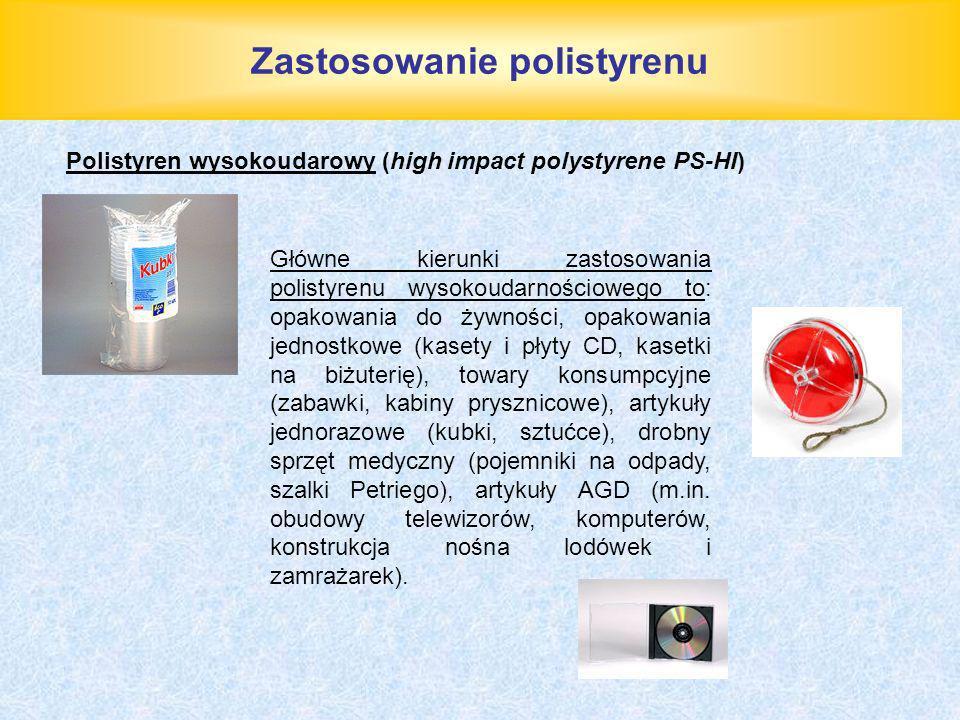 Zastosowanie polistyrenu Główne kierunki zastosowania polistyrenu wysokoudarnościowego to: opakowania do żywności, opakowania jednostkowe (kasety i pł