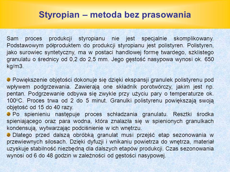 Styropian – metoda bez prasowania Sam proces produkcji styropianu nie jest specjalnie skomplikowany. Podstawowym półproduktem do produkcji styropianu