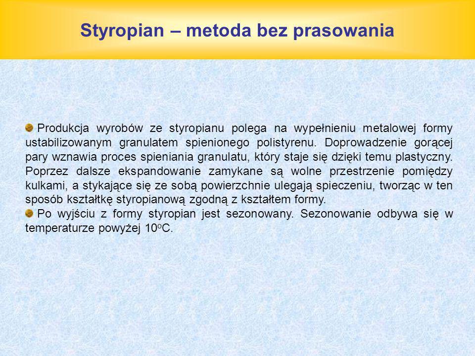 Styropian – metoda bez prasowania Produkcja wyrobów ze styropianu polega na wypełnieniu metalowej formy ustabilizowanym granulatem spienionego polisty