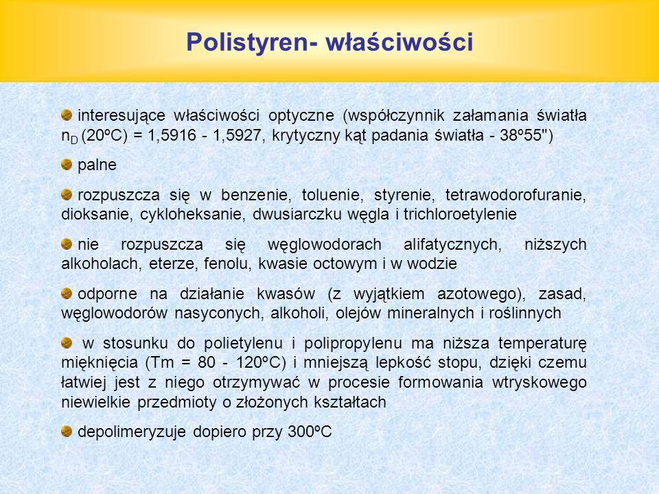 Polistyren- właściwości interesujące właściwości optyczne (współczynnik załamania światła n D (20ºC) = 1,5916 - 1,5927, krytyczny kąt padania światła