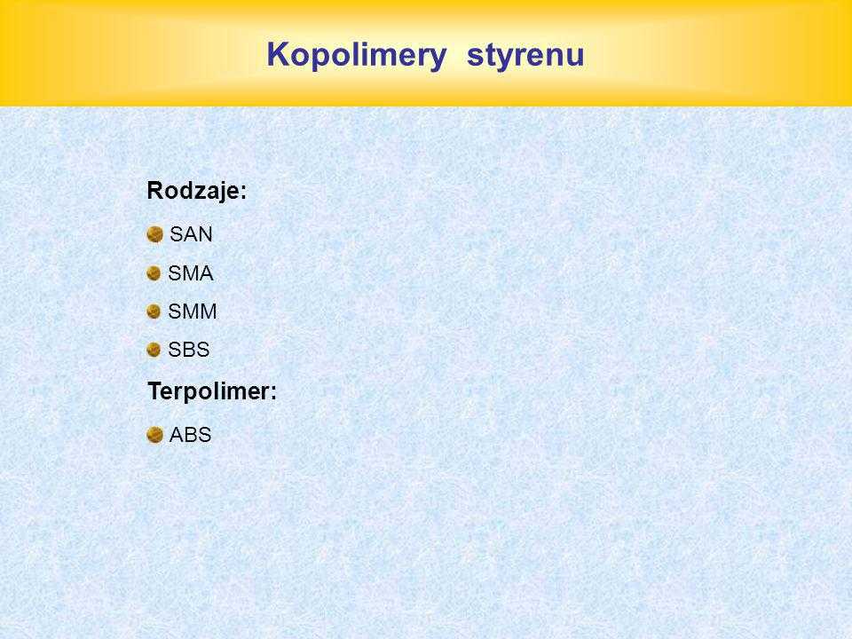 Kopolimery styrenu Rodzaje: SAN SMA SMM SBS Terpolimer: ABS
