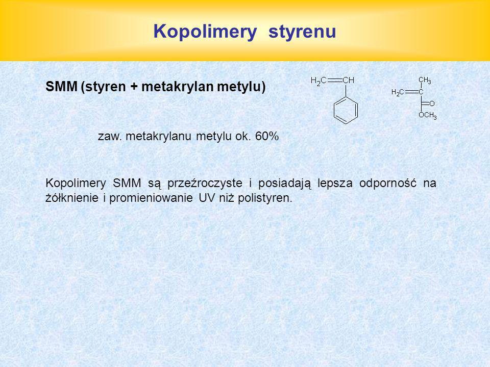 Kopolimery styrenu SMM (styren + metakrylan metylu) zaw. metakrylanu metylu ok. 60% Kopolimery SMM są przeźroczyste i posiadają lepsza odporność na żó