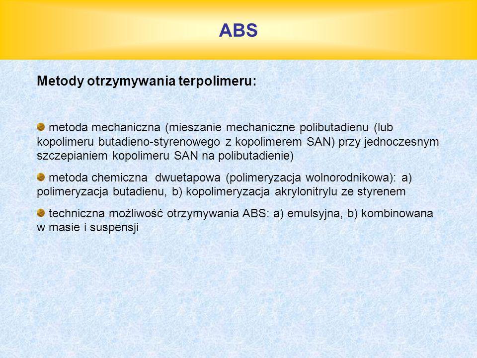 ABS Metody otrzymywania terpolimeru: metoda mechaniczna (mieszanie mechaniczne polibutadienu (lub kopolimeru butadieno-styrenowego z kopolimerem SAN)