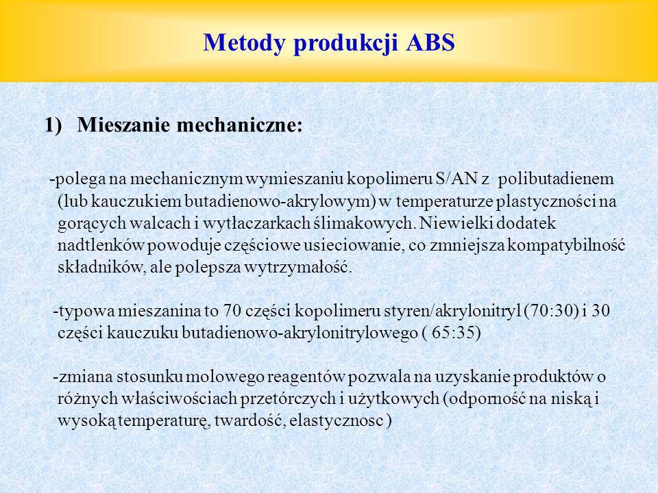 Metody produkcji ABS 1)Mieszanie mechaniczne: -polega na mechanicznym wymieszaniu kopolimeru S/AN z polibutadienem (lub kauczukiem butadienowo-akrylow