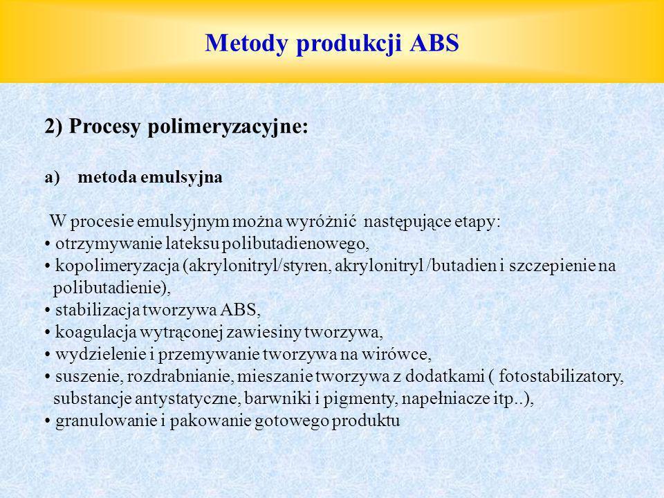 Metody produkcji ABS 2) Procesy polimeryzacyjne: a)metoda emulsyjna W procesie emulsyjnym można wyróżnić następujące etapy: otrzymywanie lateksu polib