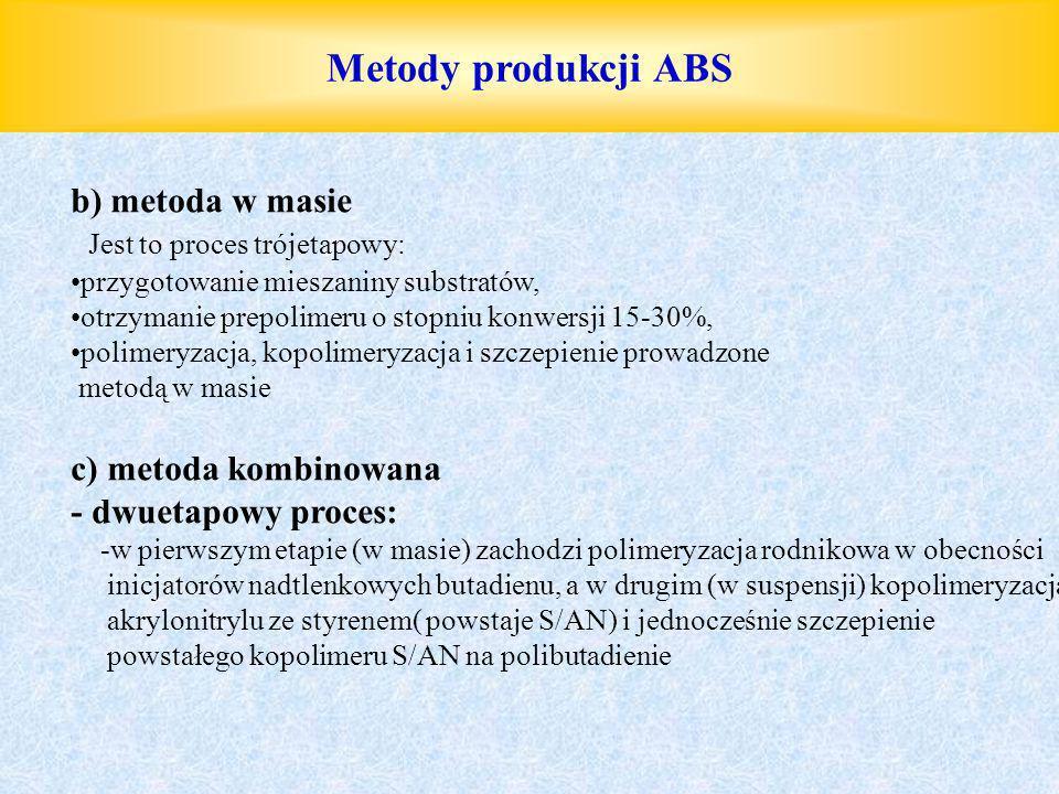 Metody produkcji ABS b) metoda w masie Jest to proces trójetapowy: przygotowanie mieszaniny substratów, otrzymanie prepolimeru o stopniu konwersji 15-