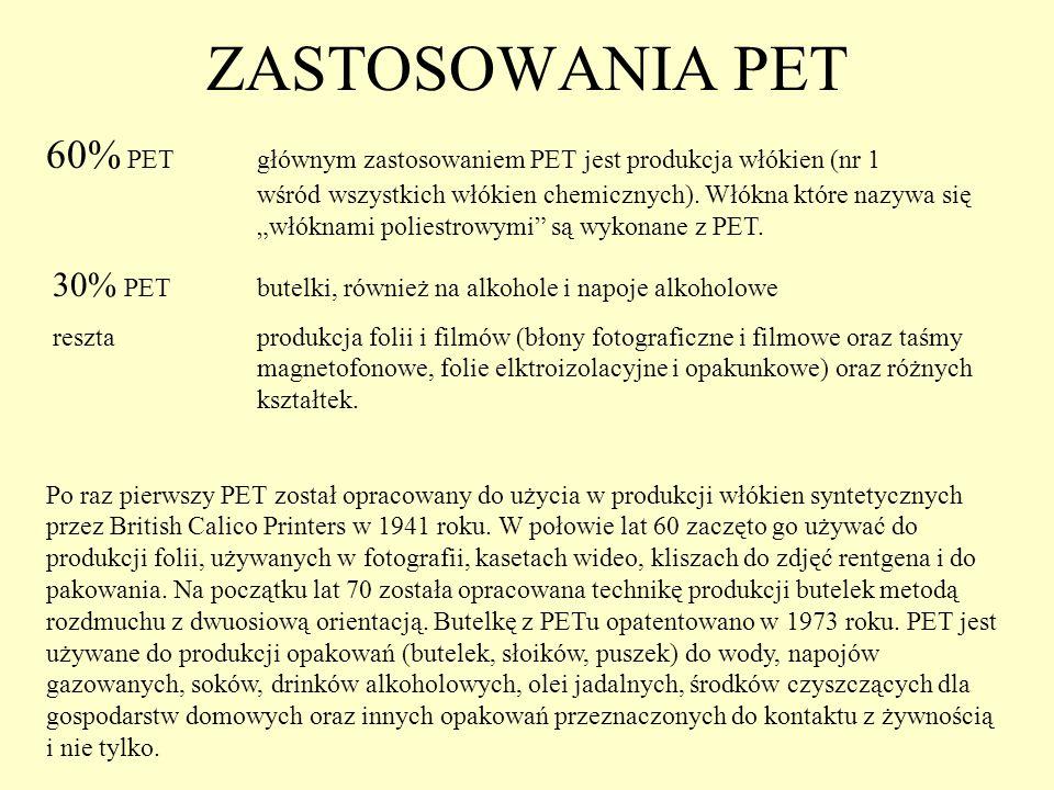 ZASTOSOWANIA PET 60% PETgłównym zastosowaniem PET jest produkcja włókien (nr 1 wśród wszystkich włókien chemicznych). Włókna które nazywa się włóknami