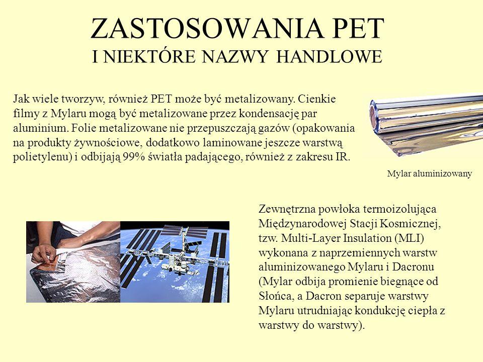 ZASTOSOWANIA PET I NIEKTÓRE NAZWY HANDLOWE Jak wiele tworzyw, również PET może być metalizowany. Cienkie filmy z Mylaru mogą być metalizowane przez ko