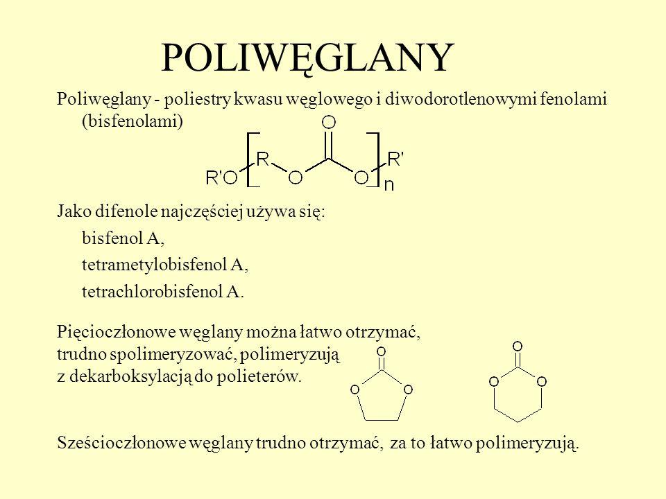 POLIWĘGLANY Poliwęglany - poliestry kwasu węglowego i diwodorotlenowymi fenolami (bisfenolami) Jako difenole najczęściej używa się: bisfenol A, tetram