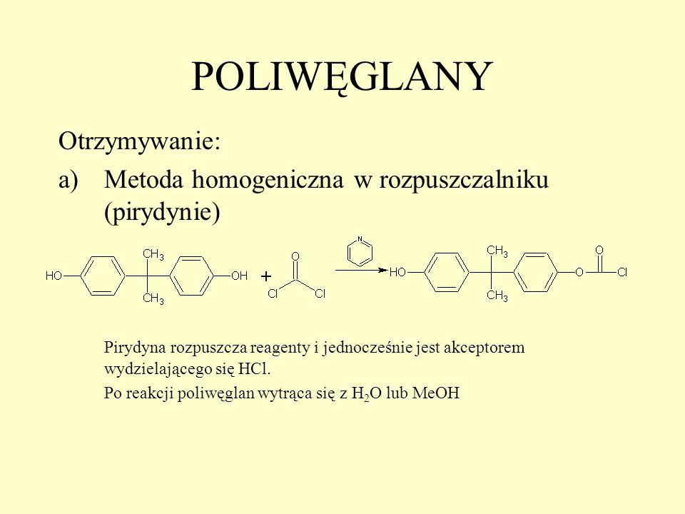 POLIWĘGLANY Otrzymywanie: a)Metoda homogeniczna w rozpuszczalniku (pirydynie) Pirydyna rozpuszcza reagenty i jednocześnie jest akceptorem wydzielające