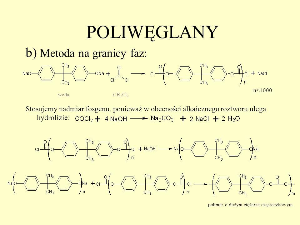 POLIWĘGLANY b) Metoda na granicy faz: Stosujemy nadmiar fosgenu, ponieważ w obecności alkaicznego roztworu ulega hydrolizie: n<1000 wodaCH 2 Cl 2 2 po