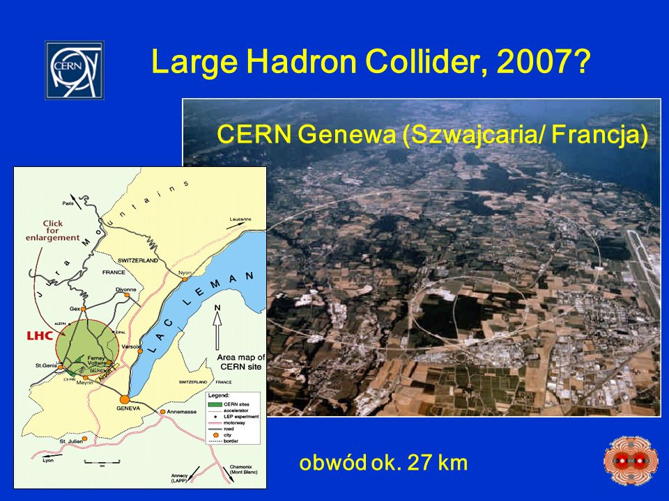 Large Hadron Collider, 2007? CERN Genewa (Szwajcaria/ Francja) obwód ok. 27 km