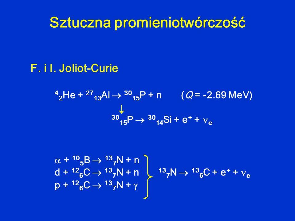 Sztuczna promieniotwórczość F. i I. Joliot-Curie 4 2 He + 27 13 Al 30 15 P + n (Q = -2.69 MeV) 30 15 P 30 14 Si + e + + e + 10 5 B 13 7 N + n d + 12 6