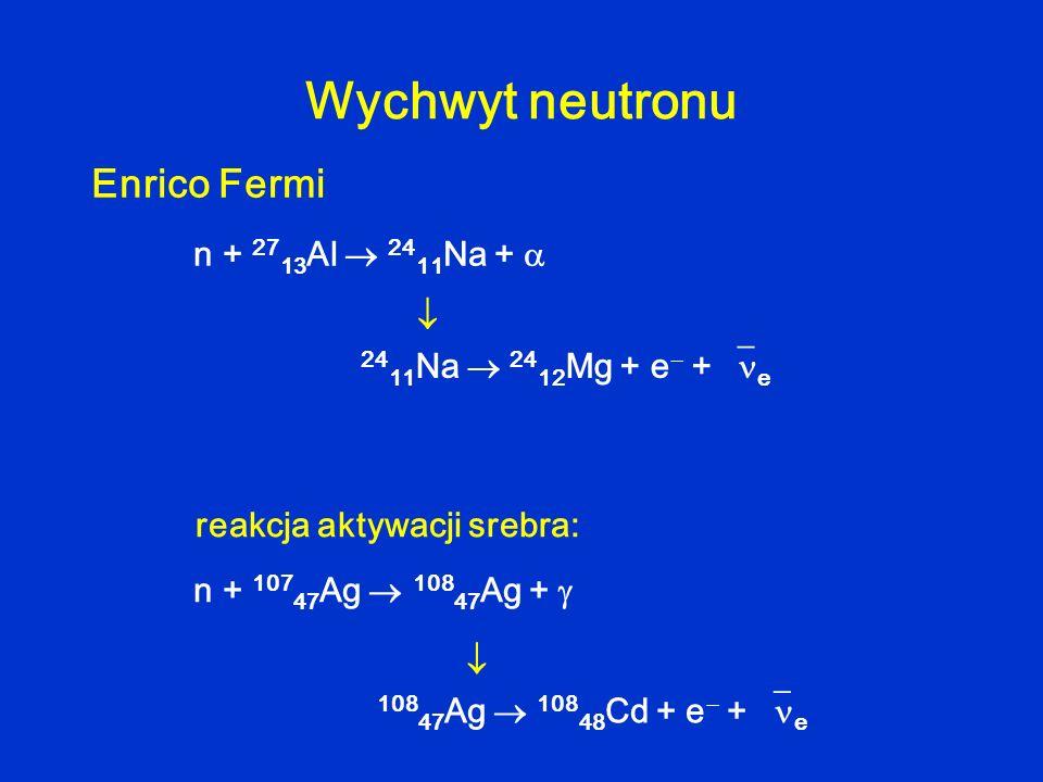 Wychwyt neutronu Enrico Fermi n + 27 13 Al 24 11 Na + 24 11 Na 24 12 Mg + e + e n + 107 47 Ag 108 47 Ag + 108 47 Ag 108 48 Cd + e + e reakcja aktywacj