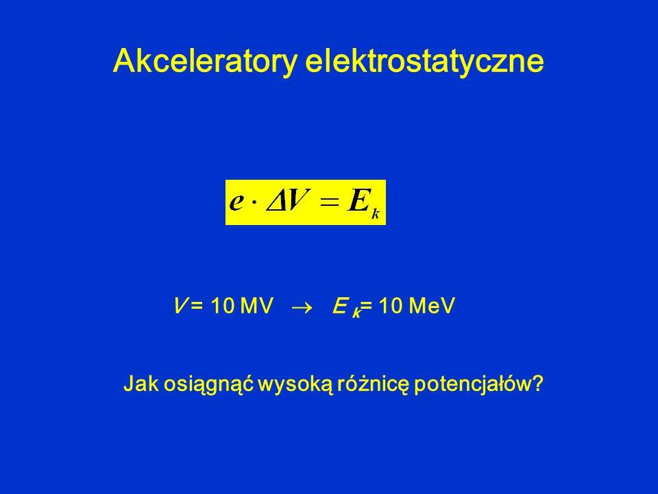 V = 10 MV E k = 10 MeV Akceleratory elektrostatyczne Jak osiągnąć wysoką różnicę potencjałów?
