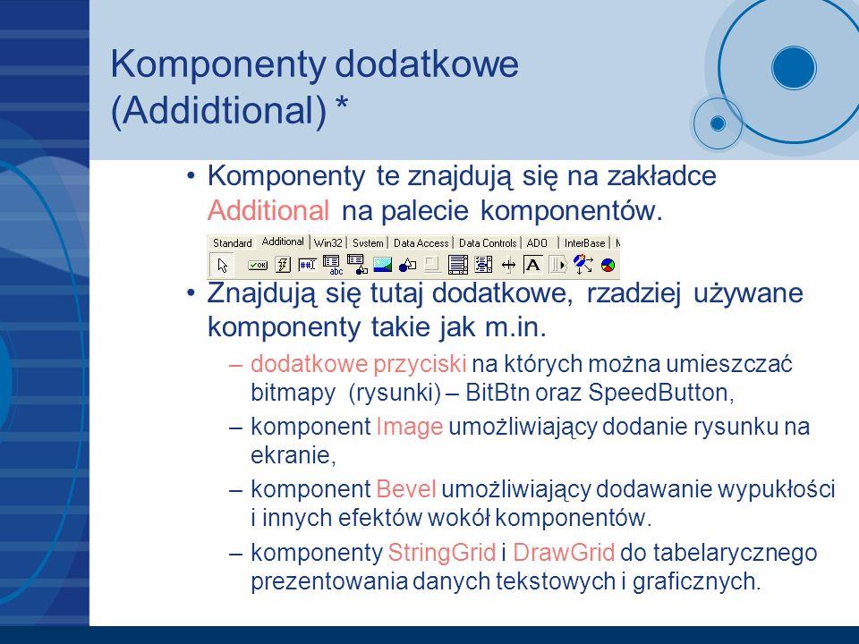 Komponenty dodatkowe (Addidtional) * Komponenty te znajdują się na zakładce Additional na palecie komponentów. Znajdują się tutaj dodatkowe, rzadziej
