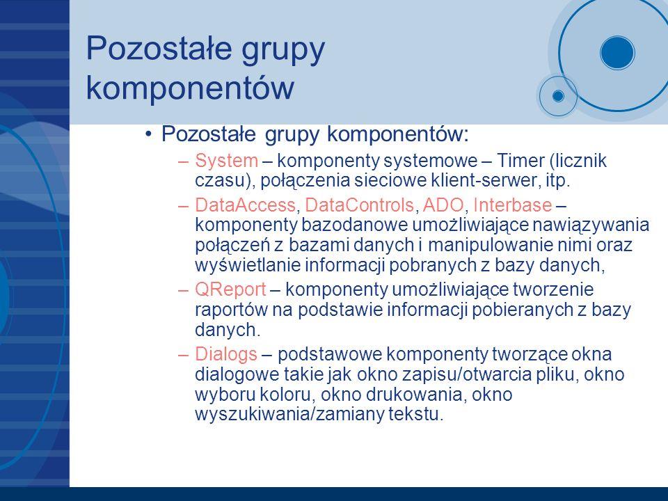 Pozostałe grupy komponentów Pozostałe grupy komponentów: –System – komponenty systemowe – Timer (licznik czasu), połączenia sieciowe klient-serwer, it