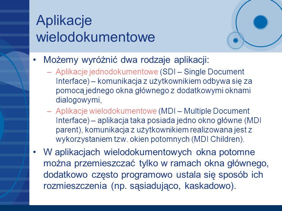 Aplikacje wielodokumentowe Możemy wyróżnić dwa rodzaje aplikacji: –Aplikacje jednodokumentowe (SDI – Single Document Interface) – komunikacja z użytko